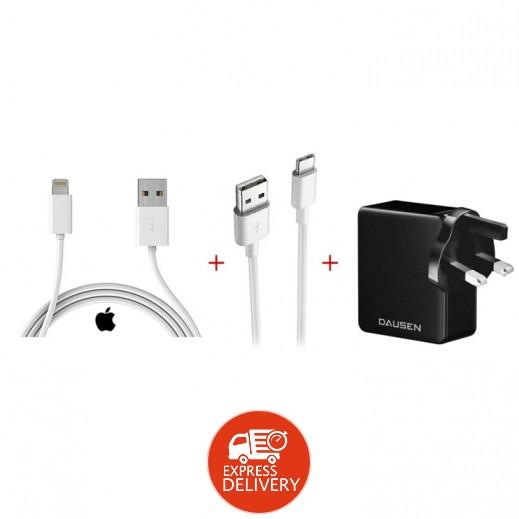 داوسن - شاحن حائط 2 USB + ساداد – كيبل USB Type-C بطول 1 متر + ساداد – كيبل USB للشحن و المزامنة