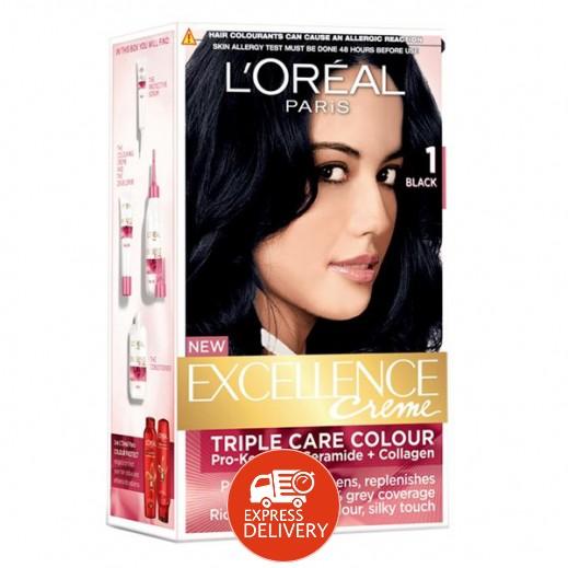 """لوريال باريس – صبغة شعر بكريم """"Excellence"""" رقم 1 لون أسود"""