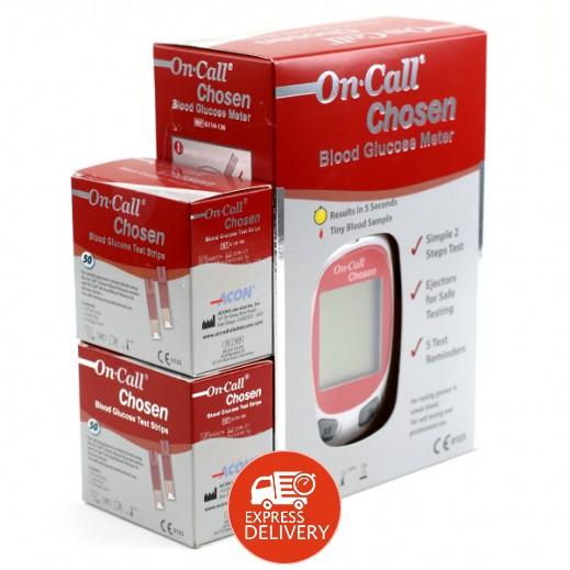 2a3594726 أون كول تشوزن – جهاز فحص السكر في الدم + 100 شريط مجاني | توصيل ...
