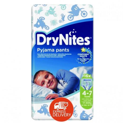 دراي ناتيس – حفاضات دراي نايتس للأولاد (4 -7 سنة) وزن 17-30 كجم - 16 حبة