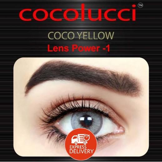 كوكولوتشي – عدسات لاصقة إستخدام شهر (مقاس -1) أصفر 1 زوج