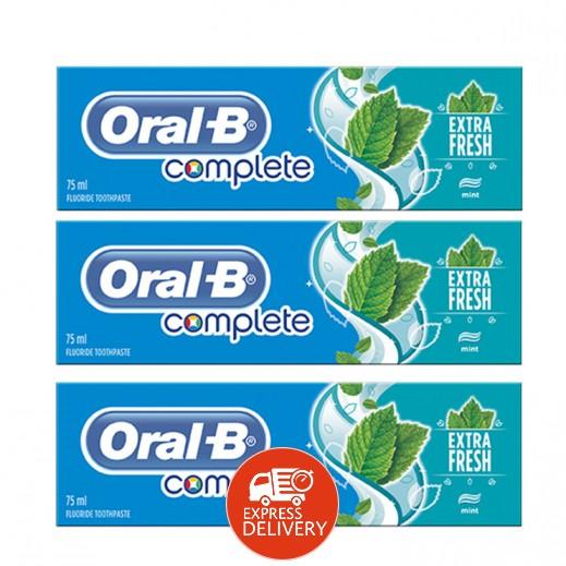 أورال بي – معجون أسنان بانتعاش إضافي 75 مل × 3 حبة (عرض خاص)