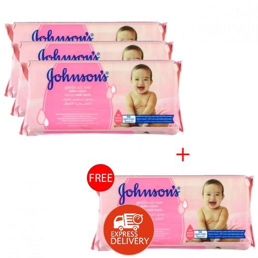 جونسون – مناديل لتنظيف لطيف لكامل بشرة الأطفال 224 منديل (3+1 مجانا)
