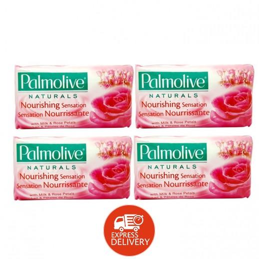 بالموليڤ – صابون بخلاصة الحليب وبتلات الورد 4 × 170 جم