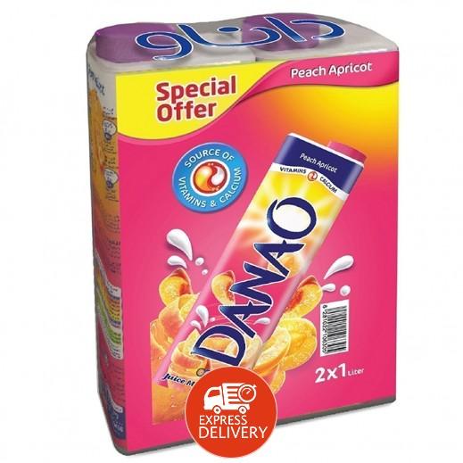 عرض خاص من داناو - عصير بالحليب بطعم الخوخ والمشمش 2 × 1 لتر