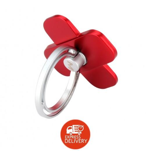 """موماكس – حلقة وقاعدة """"X-Ring"""" دوارة 360° للهواتف الذكية – أحمر"""