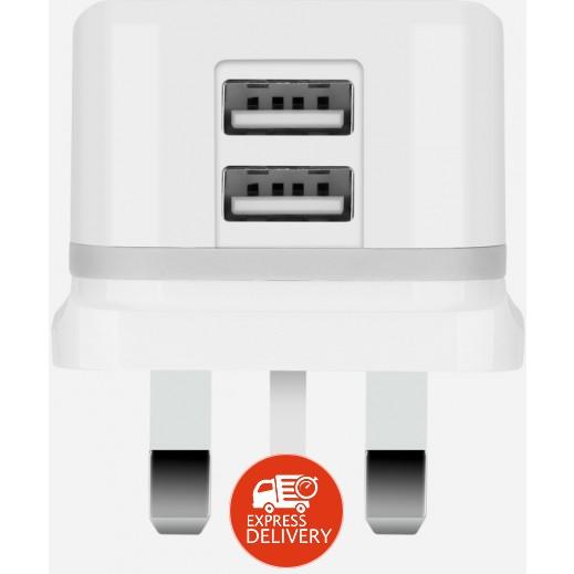 موماكس – شاحن كهربائي U.Bull Junior  ثنائي USB للهواتف الذكية 3.4 أمبير – أبيض
