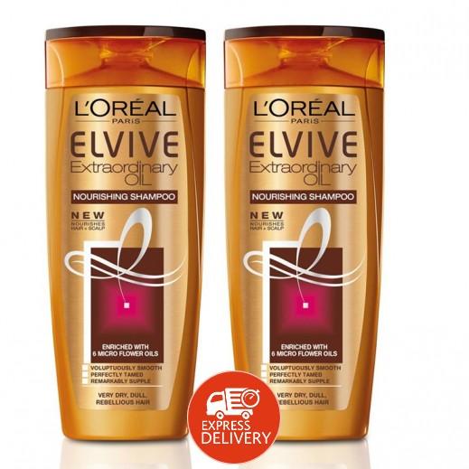 لوريال إلڤيڤ – شامبو مُغذي بالزيت للشعر الجاف – 2 حبة × 400 مل