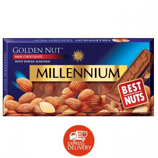 ميلينيوم - شوكولاته ذهبية بالحليب مع اللوز الكامل 100 جرام