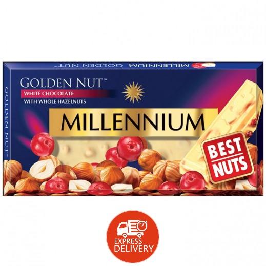ميلينيوم - شوكولاته بيضاء ميلينيوم الذهبى بالبندق الكامل والكرز 100 جرام