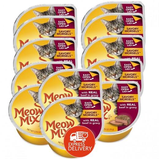 ميو ميكس – طعام القطط - وجبة قطع بيف متبلة في صلصة لحم 12×78 جم - أسعار الجملة