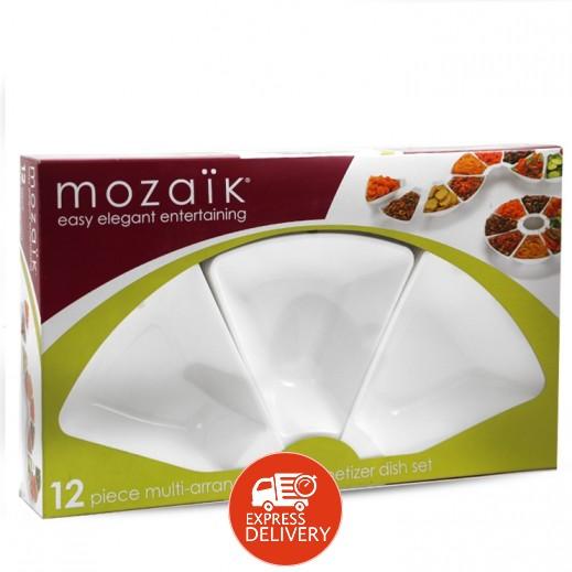 موزايك – طقم أطباق مقبلات سابرت - بيضاء - (12 حبة)