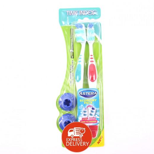 أستيرا – فرشاة تنظيف الأسنان تايم انديكس 2×1 حجم وسط