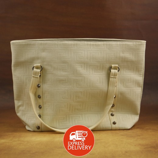 عنابي - حقيبة يد PU جلدية للسيدات - بيج