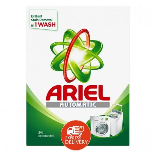 """آريال – مسحوق الغسيل الأخضر للغسالات الأوتوماتيك """" عطر أصلي """" 3 كجم"""