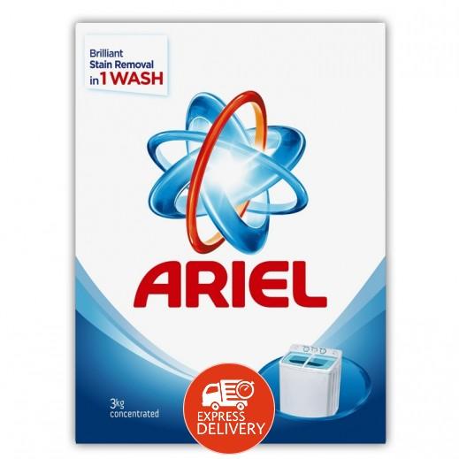 """آريال – مسحوق الغسيل الأزرق للغسالات العادية """" عطر أصلي """" 3 كجم"""