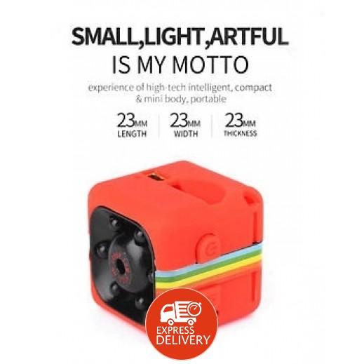 موتو - كاميرا تصوير صغيرة بدقة 12 ميجابيكسل 1080P HD مع ميكروفون مدمج وسماعة – أحمر