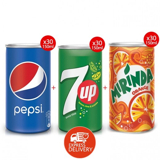 بيبسي مشروب غازي 30 × 150 مل + ميريندا شراب البرتقال 30 × 150 مل + سفن أب 30 × 150 مل