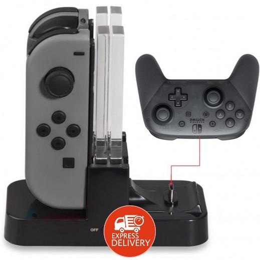 دوبي - قاعدة شحن ليد التحكم Joy-Con ويد التحكم PRO لجهاز الألعاب نينتندو سويتش – أسود