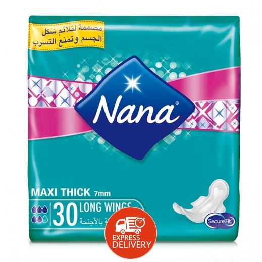 """نانا – فوط صحية """" ماكسي """" حجم كبير بالأجنحة 30 حبة"""