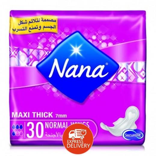 """نانا – فوط صحية """" ماكسي """" حجم عادي بالأجنحة 30 حبة"""
