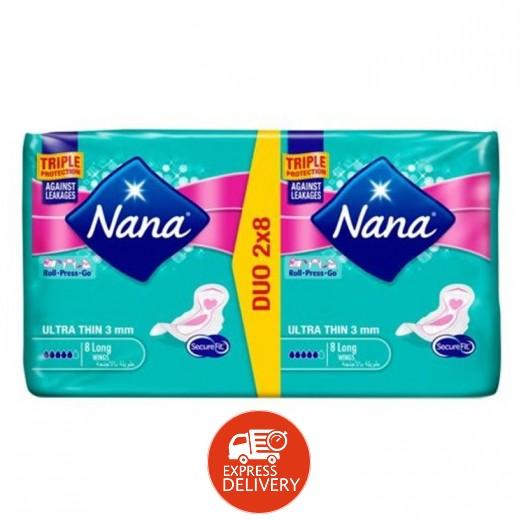"""نانا - فوط صحية """"رفيعة"""" طويلة بالأجنحة – عبوة مزدوجة (2 × 8 فوطة)"""