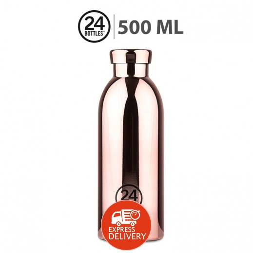 24 بوتلز - زجاجه مشروبات كليما الحرارية - ذهبي وردي 500 مل