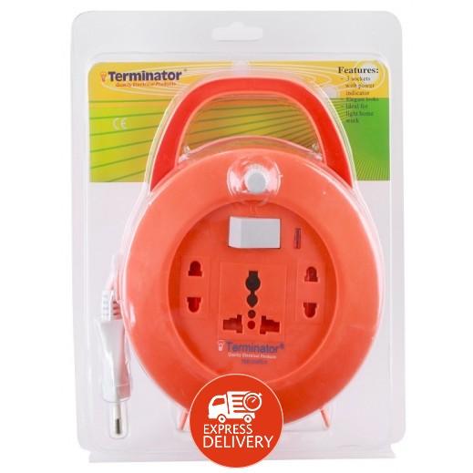 ترمونيتر - وصلة تمديد كهربائية بكرة ميني 10 متر 13 امبير – برتقالي