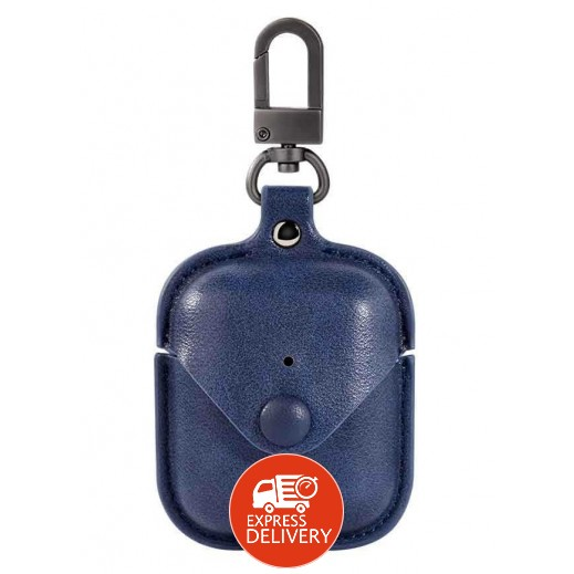 دفيا – غطاء حماية جلد لسماعات AirPods – ازرق