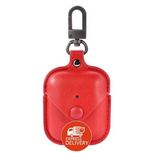 دفيا – غطاء حماية جلد لسماعات AirPods – احمر
