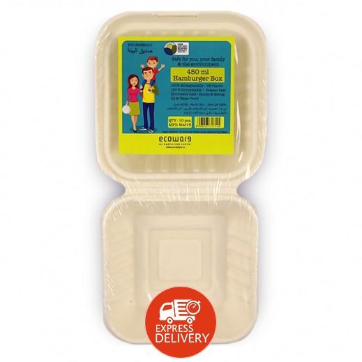 إيكووير - عبوة للطعام بغطاء قابلة للتحلل 450 مل - 10 حبة