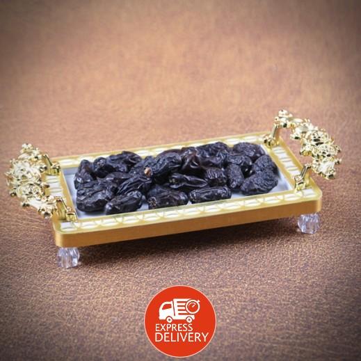 عنابي - صينية تقديم صغيرة – أبيض وذهبي
