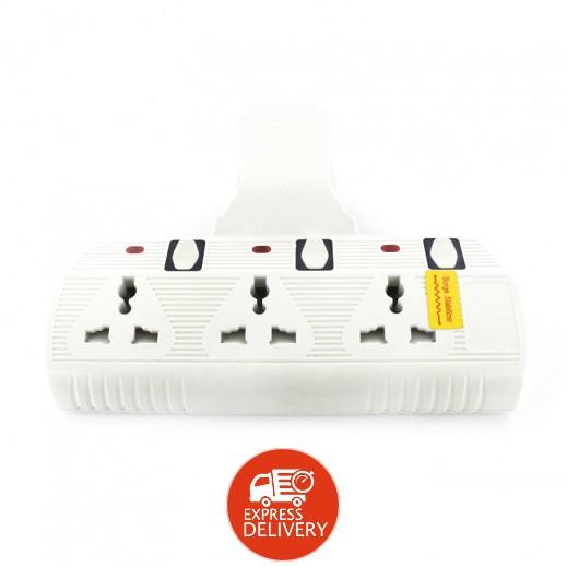 بيك – اشتراك حائط عالمي 3 مخارج كهرباء بقوة 3000 واط – أبيض