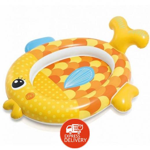 إنتكس – حمام سباحة للأطفال الصغيرة على شكل سمكة ذهبية 124 × 140 × 34 سم