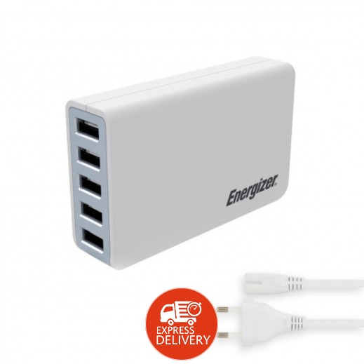 إنرجايزر – منصة الشحن 5 منافذ USB بقوة 8 امبير – ابيض