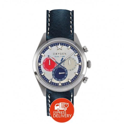 """أكسجين – ساعة """"سبورت"""" لكلا الجنسين بحزام كحلي/أحمر/عاجي موديل EX-SDT-LON-40"""