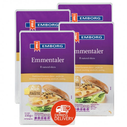 """إيمبورج – شرائح جبنة """"إيمينتال"""" 150 جم (4 حبة) - عرض التوفير"""