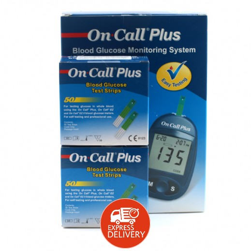 أون كول بلس – جهاز لفحص السكر في الدم مع 50 شريط قياس