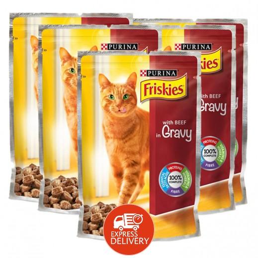 بورينا – طعام فريسكس لحم بقري في المرق (طعام القطط) 100 جم  (5 حبة) - عرض التوفير