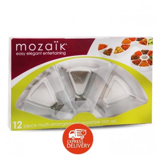 موزايك – طقم أطباق مقبلات سابرت - شفاف - (12 حبة)