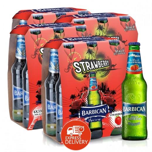 بربيكان - مشروب شعير بنكهة الفراولة 330 مل ( 4 كرتون × 6 حبة ) – أسعار الجملة