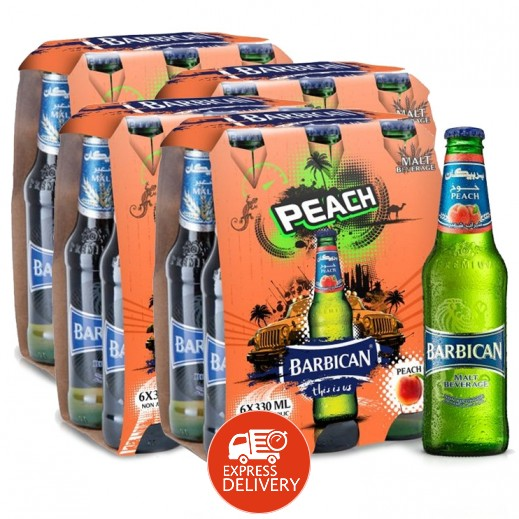 بربيكان - مشروب شعير بنكهة الخوخ 330 مل ( 4 كرتون × 6 حبة ) - أسعار الجملة