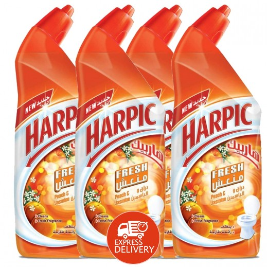 """هاربيك – منظف الحمام """" دراق و ياسمين """" 1 لتر × 4 حبة - عرض التوفير"""