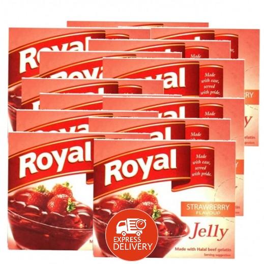 رويال - حلوى الجيلاتين بنكهة الفراولة 85 جم (10+2 مجاناً)