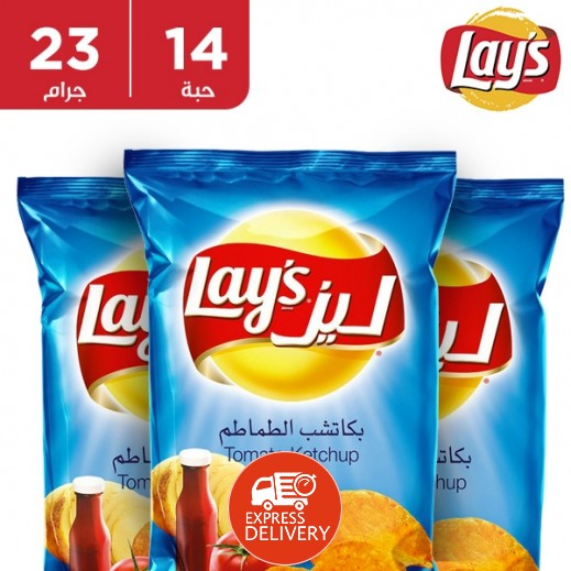 ليز - شيبس بكاتشب الطماطم كرتون 14 حبة × 23 جم