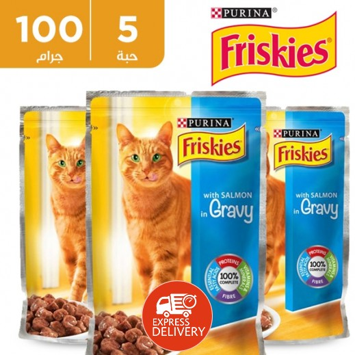 بورينا – طعام فريسكس سلمون في المرق (طعام القطط) 100 جم  (5 حبة) - عرض التوفير