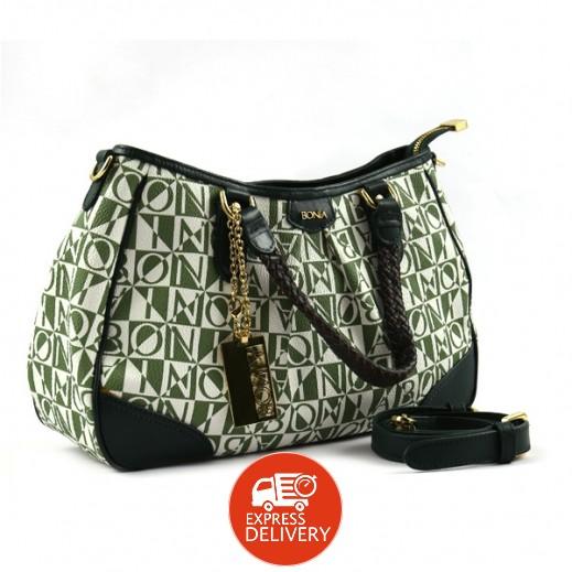 بونيا - حقيبة يد جلدية للسيدات - أخضر قاتم