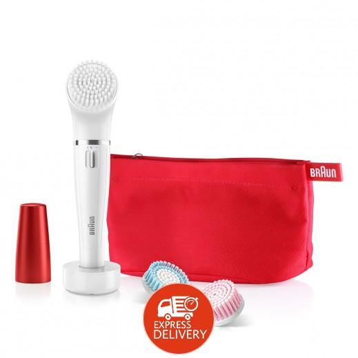 براون -فرشاة تنظيف الوجه 3 حبة + آلة إزالة شعر الوجه صغيرة + جراب  SE852
