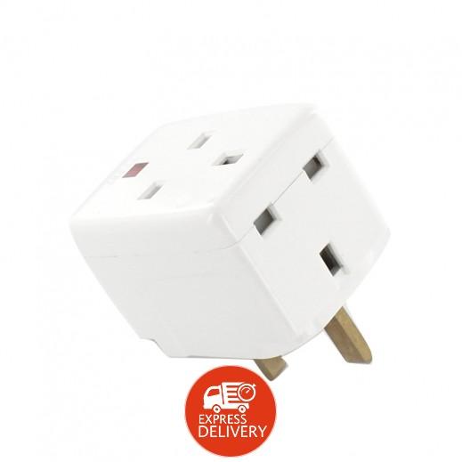 يو إم إس – مقبس حائط كهربائي ستايل إنجليزي 3 مخارج 13 أمبير – أبيض