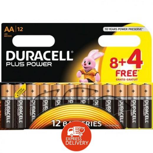 دوراسيل – بطارية ألكالين جافة AA عبوة 8 + 4 حبة مجاناً (1.5 فولت)